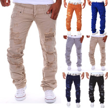 real stuff italy hip hop brand ripped jeans denim  Men Jeans,male famous brand  men's jeans straight trousers(China (Mainland))
