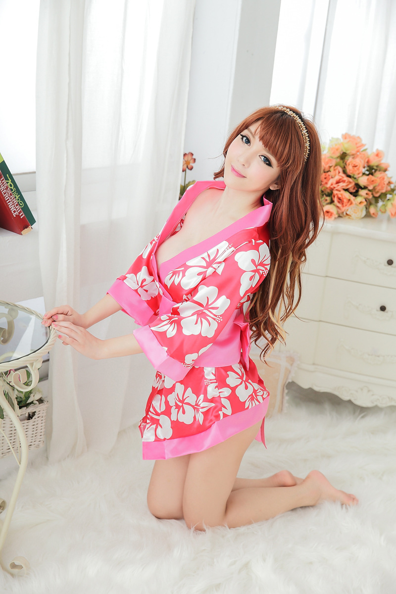 new Japanese Kimono Pink Printing Maid Uniform Temptation Game Suits Nightgown Temptation Sexy Clothing Costumes Lingerie Female(China (Mainland))