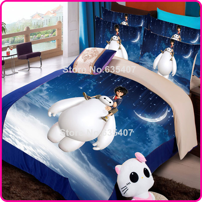 Warm guy baymax big hero 6 bed sheet set blue comforter/duvet/quilt cover sets carton bed set for kids(China (Mainland))