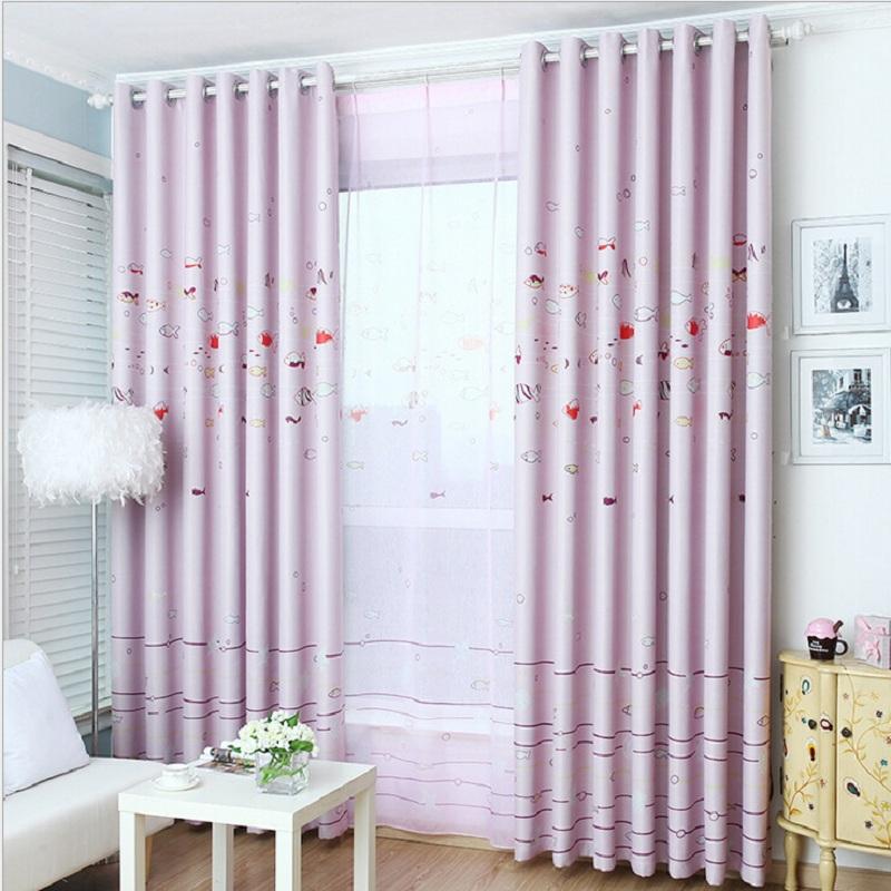 Pink blue Ocean word pattern curtain for girl's room children's room corner window bay window bedroom modern cortina DS028#15(China (Mainland))