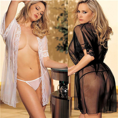 Free Shipping sexy lingerie transparent robe erotic sleepwear women nightgown plus size black and white two colors(China (Mainland))