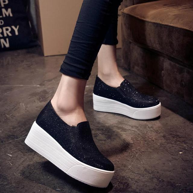 2016 весна осень женщинам-бездельников женщина платформа холст блестками ткань обувь свободного покроя обувь туфли бездельник серебро черный