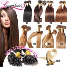 "18"" 20"" 22"" 24"" 100g Fusion Hair Extensions Keratin Nail Tip U Tip Hair Extensions Human Indian Remy Hair Black Brown Blond Etc(China (Mainland))"