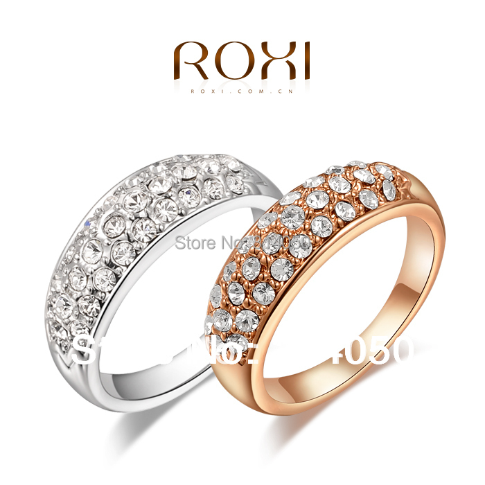 Round clear crystal 18K Gold /platinum plated ring fashion jewelry Made with Genuine Austrian Crystals Full Size Wholesale(China (Mainland))