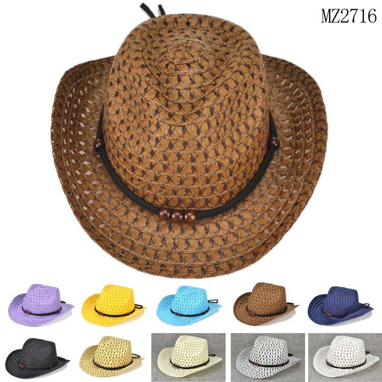 Beads Rope Decorations Cowboy Straw Hats for Children 2015 New Fashion Summer Beach Sun Hat Caps(China (Mainland))
