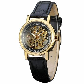 Women Leisure Automatic Mechanical Wrist Watch Leather Band Skeleton Movement Hollowed Dial Crytal Decoration
