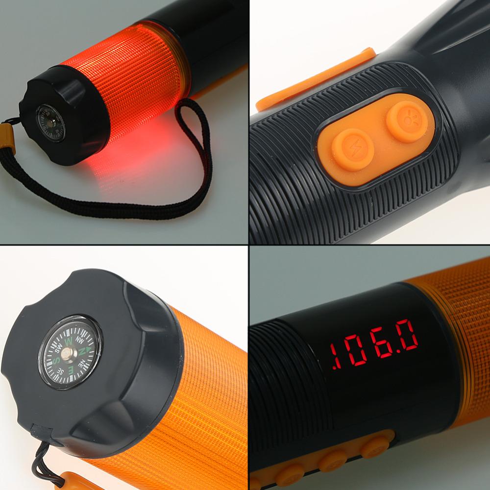 9 in 1 Flashlight Torch Hand Crank Charger Blink Siren AM FM Radio Compass Seat Belt