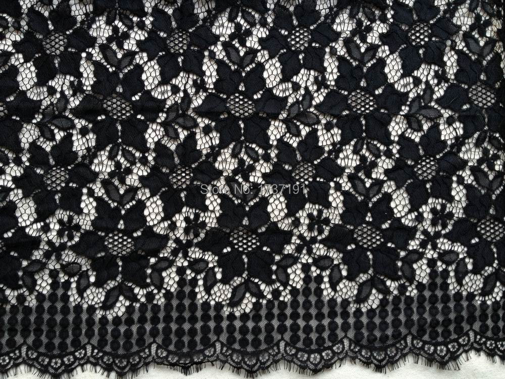 Buy charming chantilly fabric black for Wedding dress fabric store