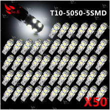 New 50pcs DC12V T10 194 W5W T10 5050 9 SMD LED White License plate light car led for Universal styling red yellow blue pink(China (Mainland))