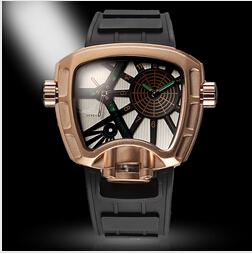Super cool men watch luxury brand quartz watch mens limited edition rubber belt watch mens sports Tonneau watches 4x slower(China (Mainland))