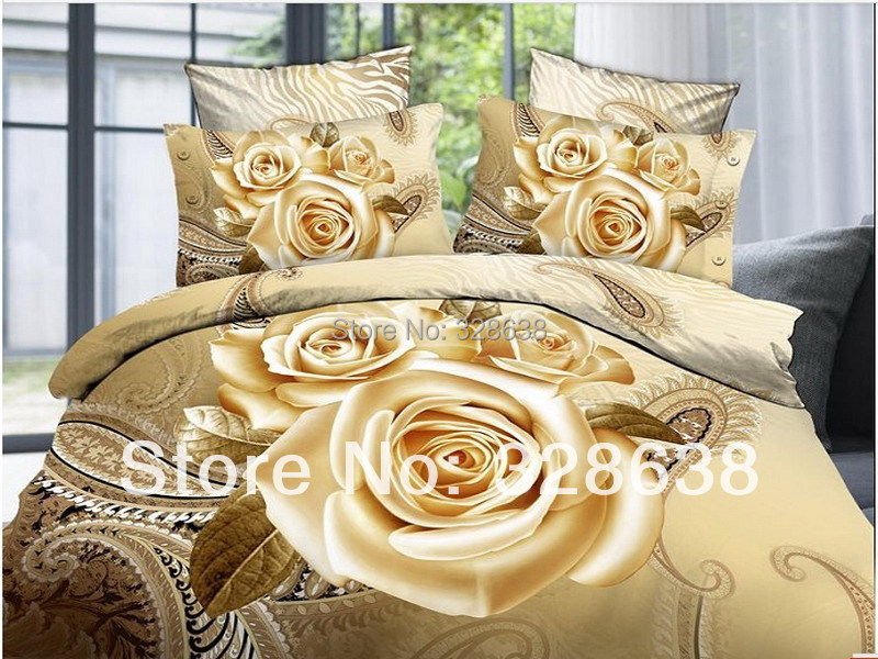New 2014 Gold Golden Yellow Rose Luxury Bedding Set