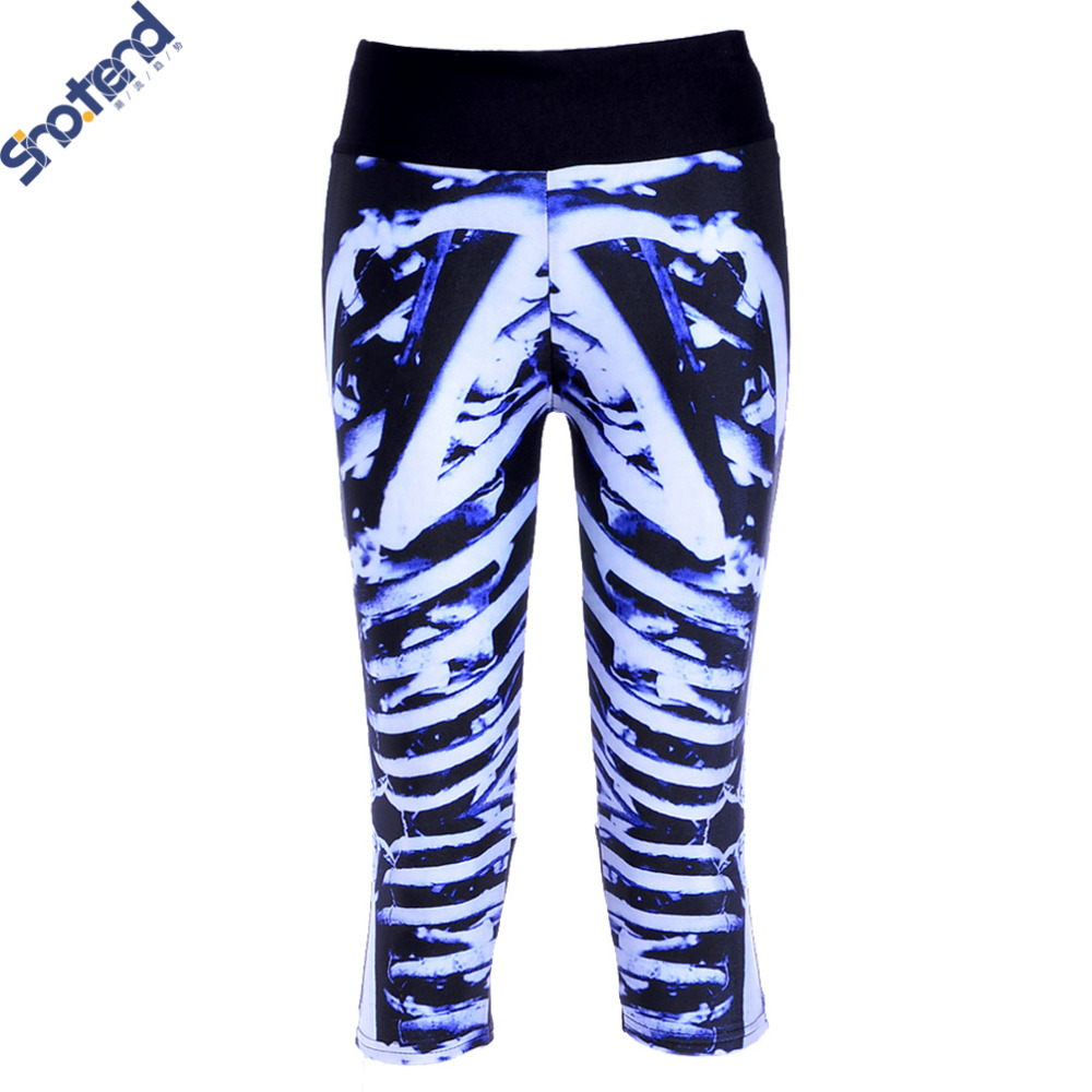 S.T Wholesale White Skeleton Leggings Digital Printing Slim Jeggings Women Sports Gym Fitness Running Pants Sport Legging Pants(China (Mainland))