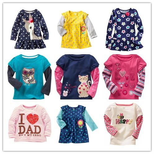 1 PCS / LOT New 100% Cotton Girls tees Tops Children T-shirt Baby Girl Long sleeve t shirts Cartoon Blouse Rabbit Cute(China (Mainland))