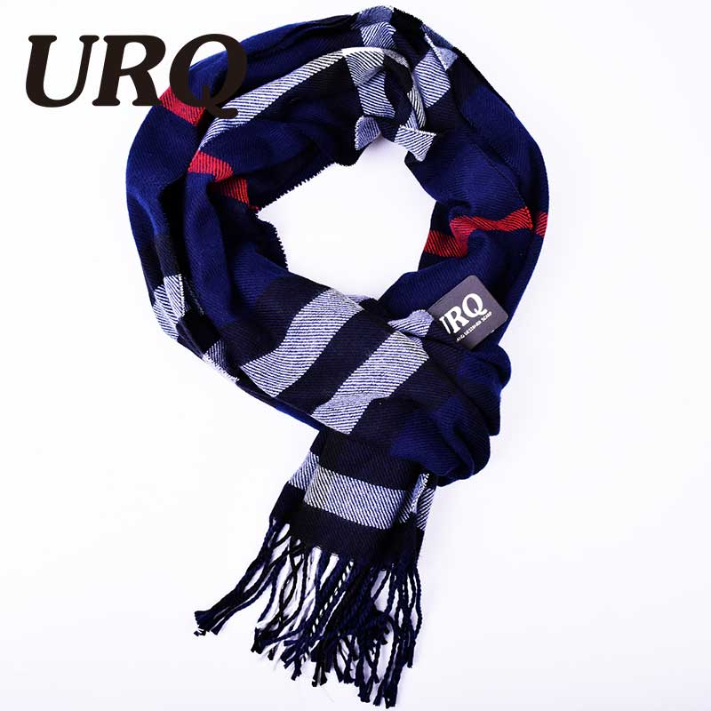 blue fashion tassel plaid knitted men scarf in winter fashion scarves classical plaid scarf for men imitation cashmere scarves(China (Mainland))