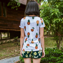 Song Riel sweet lovely home printing Waichuan pajamas fashionable men and women couple home service package