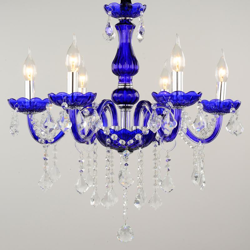 crystal blue chandelier lampshades nomsun K9 lustres de sala de janta 6 Arms dining room restaurant Decoration Lighting(China (Mainland))