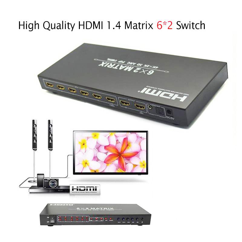 Интерфейс HDMI 1.4 Матрица 6х2 переключатель конвертер адаптер поддержка 4Kx2K 3Д ИК удлинитель для Блю-Рей плеер HD DVD-плеер спутниковый приемник