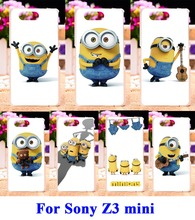 Hard Plastic and Soft TPU Mobile Phone Parts For Sony Xperia Z3 Compact Z3 Mini Z3C D5803 M55W Cases Yellow Lovely Minions Cover