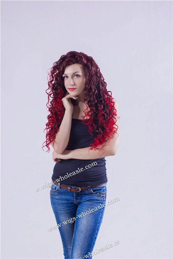 Sally Beauty Supply Wigs Curly Red Two Tone Lace Front Wig Synthetic(China (Mainland))