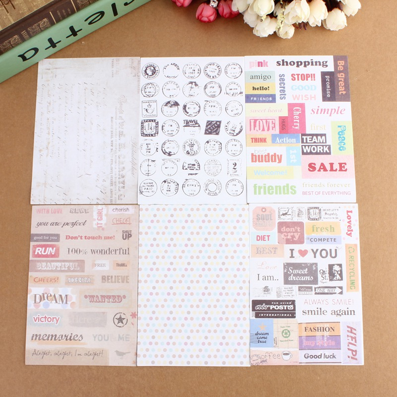 6pcs/pack Retro Postmark English Letters Diary Notebook Stationery DIY Scrapbooking Paper Stickers Suitable For Gift Home Book(China (Mainland))