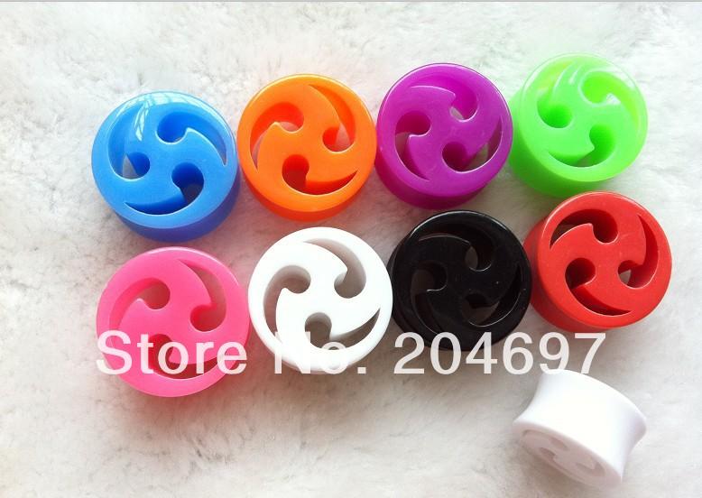 120pcs Mix 6 Gauges New 10-20mm UV Acrylic Fan Flesh Tunnel Ear Expander Double Flared Saddle Plug Body Piercing Jewelry<br><br>Aliexpress