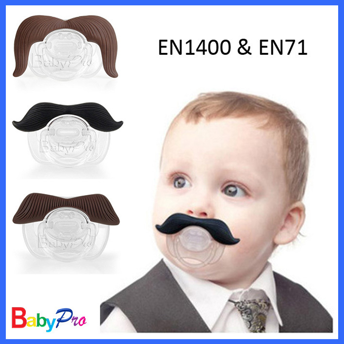 2015 Pass EN1400 Free Shipping (100pcs) Infant Silicone Chill Baby Funny Mustache Soother Dummy Baby Pacifier(China (Mainland))