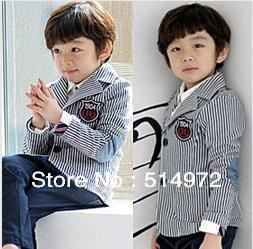 Best Selling!!Preppy Look spring autumn child small suit boys stripe blazer grey patch casual kids outerwear free shipping