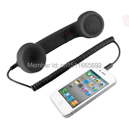 Popular Cute 3.5mm Jack Black Retro Handsets For SmartPhones Receiver As Christmas Gift(China (Mainland))
