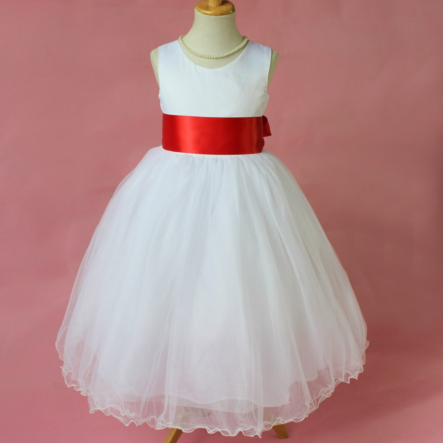 Kids Handmade White Long Dress Girl Princeess Dresses with Stain Belt Toddler Teen Girls Party Formal Dress(China (Mainland))