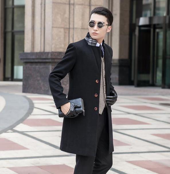 Black khaki blue grey single-breasted slim wool coat men winter jacket overcoat mens cashmere coat modern urban plus size S  9XLОдежда и ак�е��уары<br><br><br>Aliexpress