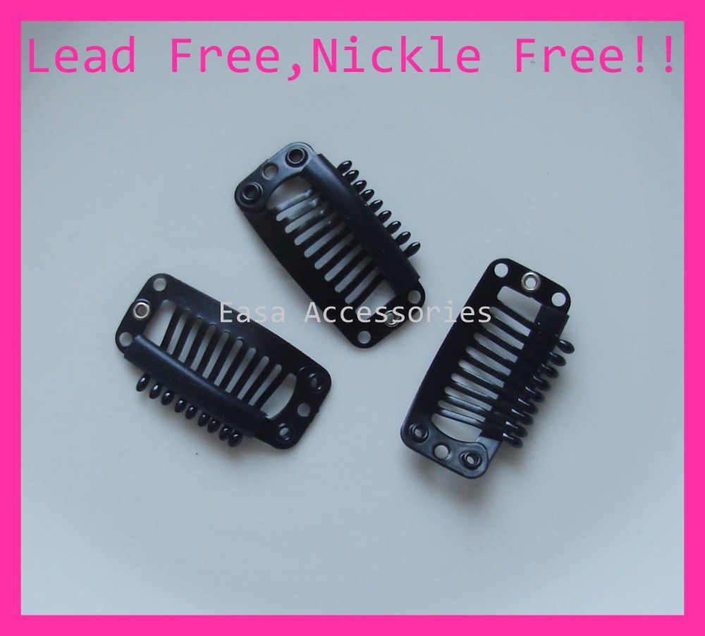 20PCS Black 32MM Plain 9teeth comb Metal Extension hair clips for hairpiece clip findings at lead free and nickle free quality(China (Mainland))