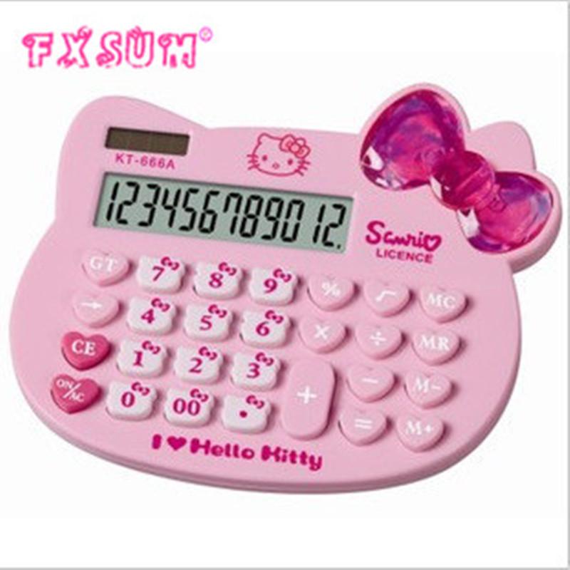 2017 FXSUM Solar Calculator Lovely KT Cat Calculator Kitty Big Bowknot Calculator(China (Mainland))