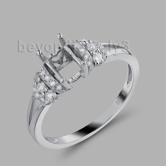Emerald Cut 4x6mm Semi Mount Solid 18Kt White Gold Natural Diamond Engage Rings WU269(China (Mainland))