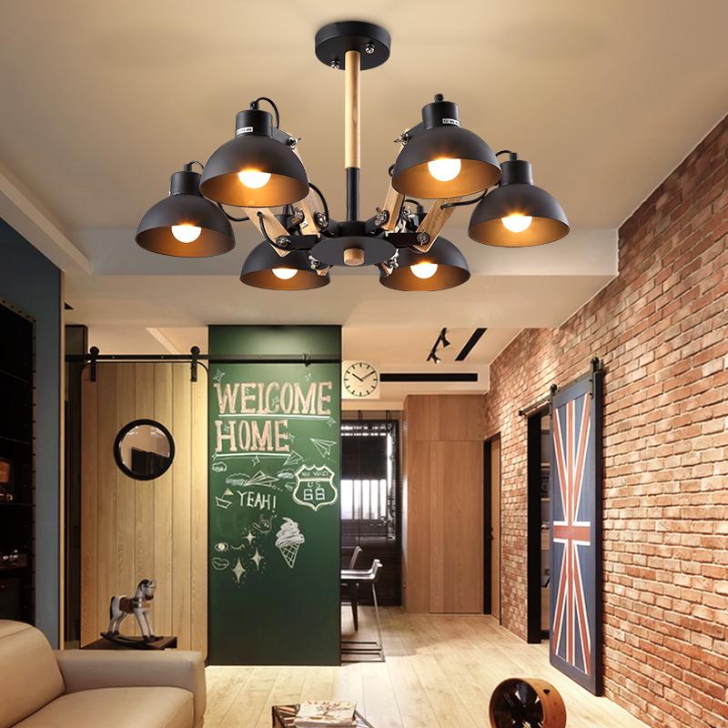 creativo nordic metal madera luces de techo para la sala de estar dormitorio luminarias para sala de estilo americano lmpara