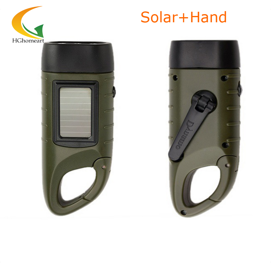 rechargeable batteries Hand Crank led flashlights solar flashlight camping light high quality portable work light(China (Mainland))