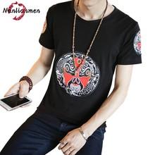 Opera Maschere per il Viso Ricamo Men T Shirt uomo t-shirt compressione poleras hombre uomini di modo divertente maglietta camisetas hombre 2017(China (Mainland))