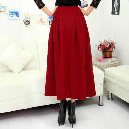 Long sections A word umbrella skirt high waist long skirt autumn and winter women woolen skirt women winter casual skirts DM439