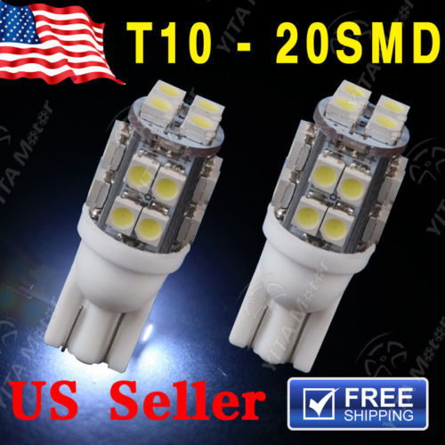 2Pcs/lot t10 led Car w5w NEW 6000K White Wedge T10 20SMD LED Light Bulbs W5W 2825 158 192 168 Interior Car Styling Light Lights(China (Mainland))