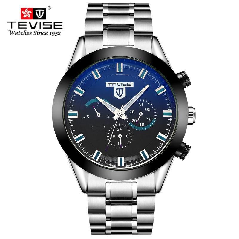Автомобильной инструмент циферблат дизайн шесть-контактный многофункциональный Часы Мужчин Роскошный Лучший Бренд TEVISE Механические Часы часы