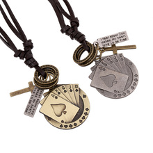 Leather Necklace Retro Jewelry Individuality of National Commodity Playing Cards Pendant(China (Mainland))