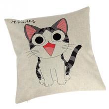 Lovely Cartoon Cat Cotton Linen Pillow Case Cushion Cover