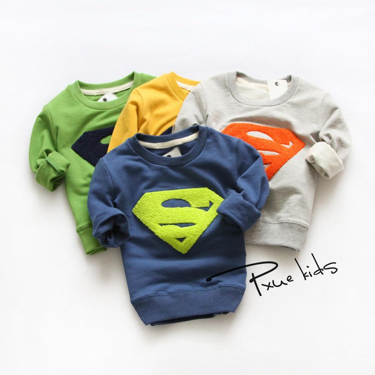Korean  classic childrens clothing embroidered towels Superman cartoon big boys and girls long-sleeved round neck sweater<br><br>Aliexpress