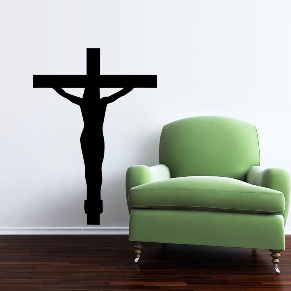 free shipping religion vinyl wall decal christian jesus cross religious wall sticker home. Black Bedroom Furniture Sets. Home Design Ideas