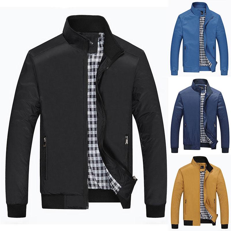 2016 Men Checker Outwear Overcoat Coat Parka Slim Zip Up Trench Coats Jackets Casual Jacket New Arrival