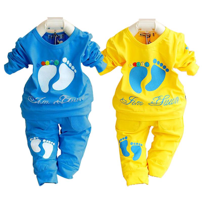 2015 spring autumn baby clothing set 100% cotton newborn baby clothes high quality girl boy shirt+pants children sets wholesale(China (Mainland))