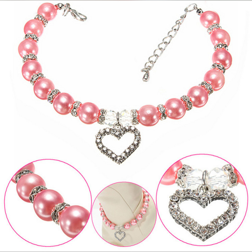 Fashion Pet Puppy Dog Cat piggy Pearl Necklace Pet Accessories Love PendantPets Dogs Cats Collar & Ldads Jewelry YC133-SZ(China (Mainland))