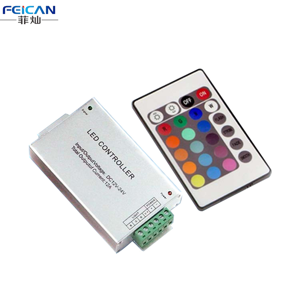 DC12-24V 4A*3Channel RGB LED Controller 24 key IR Remote Control Aluminum shell LED Controller For SMD 5050 3528 RGB LED Strip(China (Mainland))