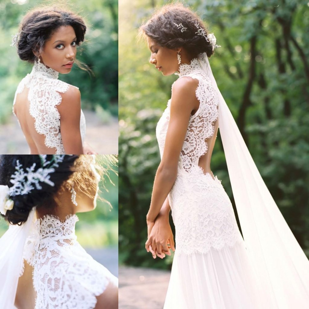 Wedding dresses bridal gowns is available and cheap price for High neck backless wedding dress