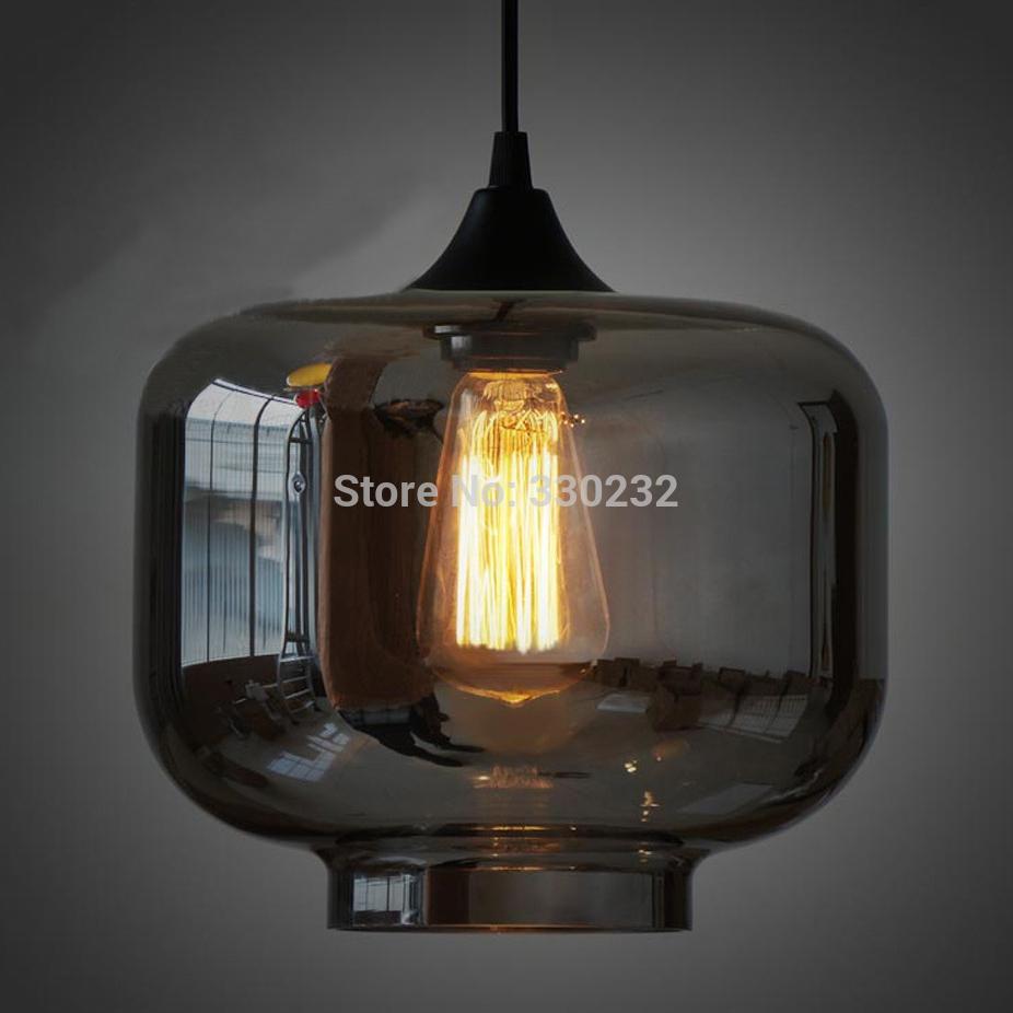 dia 18 25 cm modern smoked clear jar glass pendant