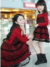 Fashion Slim Family Long-Sleeve Mesh Dress for Girls & Women Spring and Autumn Lace Dress for mother and daughter FLQ30